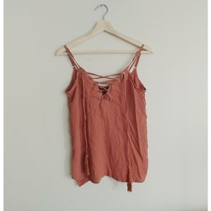 Revamped Lace Up Pink Tank Top